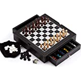 Leather 4-in-1 Chess, Checkers, Backgammon and Chinese Checkers Board Game Combo Set
