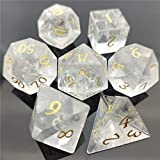 Amatolo Handmade Natural Gemstone Dice Set, Collection Jade Dices for Dungeons & Dragons (A1 White...