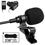 Lavalier Lapel Recording Microphone SmilePowo Omnidirectional Lav Mic for Podcast, YouTube, Interview, Vlog, Video, Meeting, Singing with 236' Cable for Phone, Camera, Camcorder, Computer, Laptop