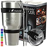 MalloMe Tumbler Stainless Steel Insulated Tumbler With Straw – Best Tumblers With Lids And Straws - Coffee 30 oz Cup Travel Mug Handle - 6 Piece - Like Yeti Tumbler Gift Set