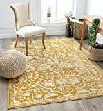 Well Woven Dazzle DISA Gold Vintage Bohemian Oriental Distressed 5'3' x 7'3' Area Rug