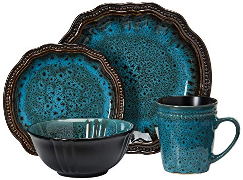 Elama Mystic Waves Round Oval Stoneware Fine Dining Dinnerware Dish Set, 16 Piece, Ocean Blue with Brown Accents