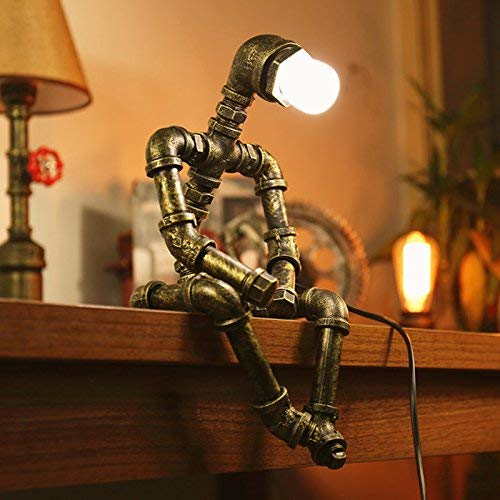 Ywyun Creative Iron Robot Table Lamp, Retro LED Energy Saving Lamp, Bar Restaurant Cafe Water Pipe Light, E27 Interface (Color : B) (Sports)