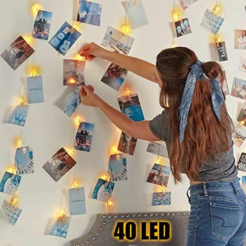 Luci Per Foto, 4.5M 40LED Luci Clip Foto, Lucine Led Decorative per Camere, 40 Clip Foto, Luminosa a...