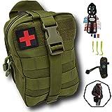 Trousse de premiers secours verte tactique Assemblé en FRANCE kit complet avec bracelet paracorde...