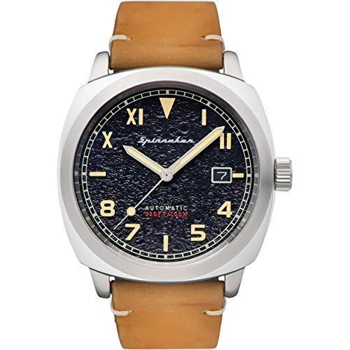 SPINNAKER Herren-Armbanduhr Hull California Automatik Schwarzes Zifferblatt Armband Leder hellbraun SP-5071-01