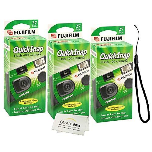 Fujifilm QuickSnap Flash 400 Disposable 35mm Camera (3 Pack) + Quality Photo Microfiber Cloth and Camera Wrist Strap