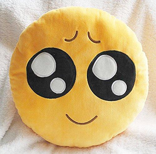 Cute suave Emoji Smiley emoticono amarillo cojín redondo de peluche muñeca almohada, pitiful, pillow