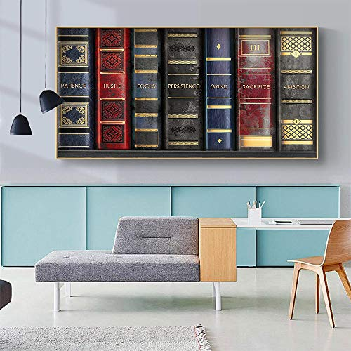 ZLARGEW Peinture sur Toile Livre Auto à succès Raeding bibliothèque Citations Affiche d'art Mural pour la décoration intérieure Photo Murale contemporaine Chambre Mode / 30x60cm sans Cadre