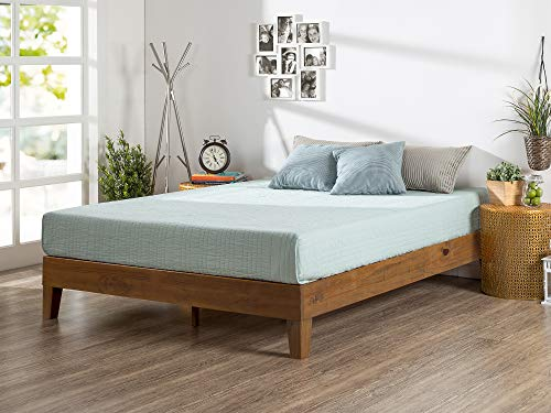 Zinus Alexia 12-Inch Deluxe Wood Platform Bed in Rustic Pine Finish, Queen - No Boxspring Needed, Wood Slat Support