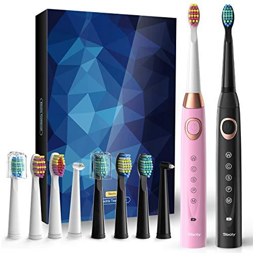 2 Elektrische Schallzahnbürsten 5 Modi 8 Bürstenköpfe USB-Schnellladegerätbetriebene Zahnbürste für 30 Tage, Integrierte Smarte Zeituhr Wiederaufladbare Zahnbürsten(1 Schwarz&1 Rosa)