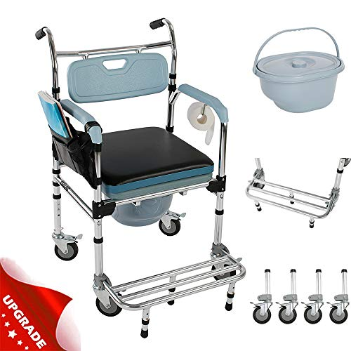 4 in 1 Multifunctional Commode Chair/Shower Chair/Soft Chair/Wheelchair, Elder People Disabled People Pregnant Women Commode with 4 Wheels