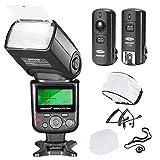 Neewer®PRO i-TTL Flash *Deluxe Kit* per NIKON DSLR D7100 D7000 D5300 D5200 D5100 D5000 D3200 D3100 D3300 D90 D800 D700 D300 D300S D610, D600, D4 D3S D3X D3 D200 N90S F5 F6 F100 F90 F90X D4S D SLR Camera- Include: Neewer Auto-Focus Flash + Wireless Trigger +M-Cavo & B-Cavo + Flash Diffusore Soffice & Duro + Astuccio per lenti