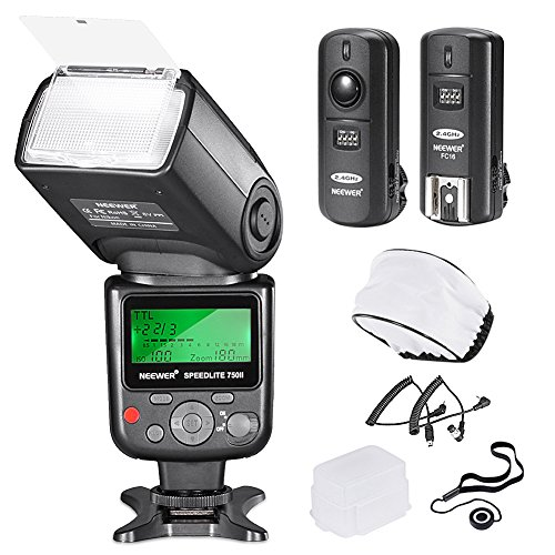Neewer 750II TTL Flash Speedlite con kit Pantalla LCD para Cámaras Nikon DSLR, Incluye:(1)750II Flash (1)Disparador Inalámbrico 2.4G con Cable N1/N3 (1)Difusor Suave/Duro (1)Soporte de Tapa de Lente