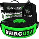 Rhino USA Recovery Tow Strap 3in x 20ft Heavy Duty - Lab Tested 31,518lb Break Strength, Premium Draw String Bag Included, Triple Reinforced Loop End to Ensure Pe