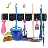 Mop Broom Holder Wall Mounted, Cleaning Tools Rack Hanger with 5 Slots 6 Hooks, Garage Organizer for Closet Kitchen Garden Garage Basement (Black)