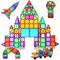 【Magnetic building tiles】Total:120PCS(118 basic shapes, 2 CARS), beautiful gift box with IDEA BOOK(While Picasso tiles have ONLY 100 PCS, with NO CARS), besides all our building tiles have magnetism.NO useless Non-magnetic letters and numbers 【MATERI...