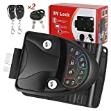 RV Door Lock Keyless Entry with Deadbolt, Zinc Alloy RV Door Latch with Two Wireless Remote Controllers, Handle Latch with Keypad & Fob 20m for RV Caravan Trailer Car Camper, RV Accessories