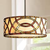 Art Glass Circles Bronze Tiffany Drum Pendant Chandelier 20' Wide 3-Light Fixture for Dining Room House Foyer Kitchen Island Entryway Bedroom Living Room - Robert Louis Tiffany