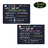 Supoice 10 x 14 Inch First Day & Last Day of School Chalkboard Wooden Signs Large Size Photo Prop Back to School Signs for Kids Reusable and Easy Clean