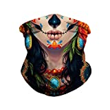 Plustrong 3D Print Seamless Bandanas Neck Gaiter Headband Tube Half Face Mask for Motorcycle Outdoor Sports Festival Dust(sugar skull 010,M)