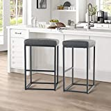 ALPHA HOME 30' Bar Stools Bar Height Bar Chair with Footrest Pu Leather Backless Kitchen Dining Cafe Chair with Thick Cushion & Sturdy Chromed Metal Steel Frame Base for Indoor Outdoor,Grey,2PC