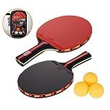 Amaza Raquette De Ping Pong Professionnel avec Sac Portable - 2 Pieces...