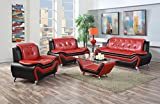 US Pride Furniture 3 Piece Modern Bonded Leather Sofa Set