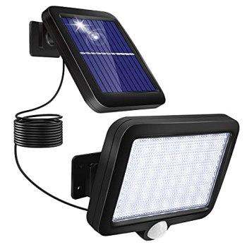 Lampe Solaire Exterieur avec Détecteur de Mouvement, 56 LED Eclairage Exterieur Solaire Étanche IP67 d'éclairage Angle 120° Lumiere Solaire Jardin avec Câble de 5m pour Patio Garage Mur Cour