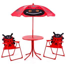 Costzon Kids Table and 2 Chair Set, Ladybug Folding Picnic Table Set with Removable Umbrella for Indoor Outdoor Garden Patio, Gift for Children Boys & Girls