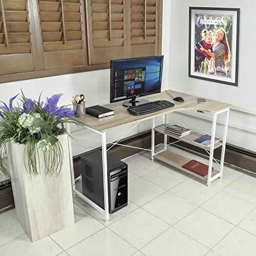 TOPLIVING Escritorio Minimalista de Madera Tipo Escuadra con Repisas Casa y/o Oficina