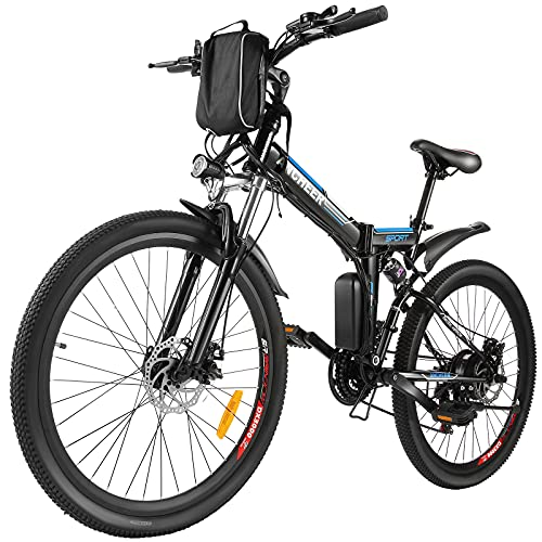 ANCHEER E-Bike/Elektrofahrrad/E-Mountainbike, 26 Zoll faltbar E-Klapprad mit doppelten Stoßdämpfung und Pedelec mit 8Ah-36V Akku für eine Reichweite von 25-60km