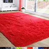 Red Rug for Bedroom,4'X6',Fluffy Shag Rug for Living Room,Furry Carpet for Kids Room,Shaggy Throw Rug for Nursery Room,Fuzzy Plush Rug,Scarlet Carpet,Rectangle,Cute Room Decor for Baby