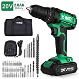 Cordless Drill Driver Kit - 20V Max Impact Drill Set w/Lithium-Ion Battery & Charger, 330 In-lb Torque, 3/8'' Keyless Chuck, 21+1+1 Clutch, Variable Speed, Built-in LED Drilling Wall Brick Wood Metal