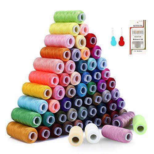 Filo da Cucito 60 Colori Kit di Cucito 220m per bobine 100% Poliestere Colorato, Setoso e Resistente...