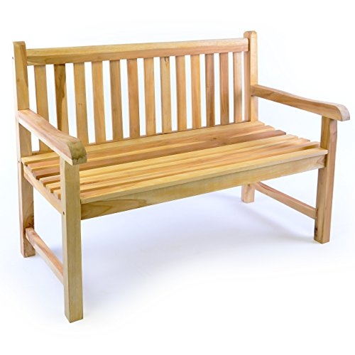 Divero 2-Sitzer Bank Holzbank Gartenbank Sitzbank 120 cm – zertifiziertes Teak-Holz unbehandelt massiv – Reine Handarbeit – wetterfest (Teak Natur)