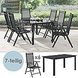 ArtLife Aluminium Gartengarnitur Milano Gartenmöbel Set mit Tisch und 6 Stühlen
