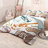 HELLOLEON Music 3-Pack (1 Duvet Cover and 2 Pillowcases) Bedding Grunge Concert Instruments Guitar Accordion Drum Jazz Classic Retro Illustration Polyester (Full) Multicolor