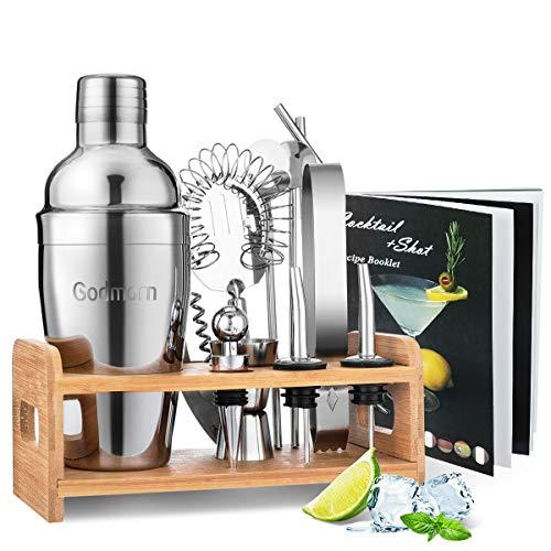 Godmorn Cocktail Shaker Set,14 + 1 pezzi Kit da Barman in Acciaio Inox ,Set di strumenti Bar,550ml Shaker con Accessori, supporto Bamboo aggiornato + spazzola pulita, ricetta
