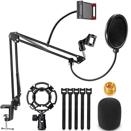 Support de Microphone, Réglable Pied de Micro Bras Support de Suspension à Ciseaux Micro avec Filtre anti-pop, Pince à Micro,Support Anti-choc Universel,Support de téléphone,Fixation sur Table