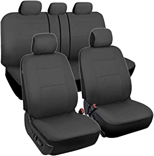 BDK PolyPro Car Seat Covers, Full Set in Solid Charcoal – Front and Rear Split Bench..