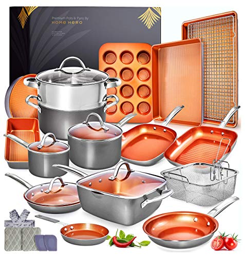 Home Hero Copper Pots and Pans Set -23pc...