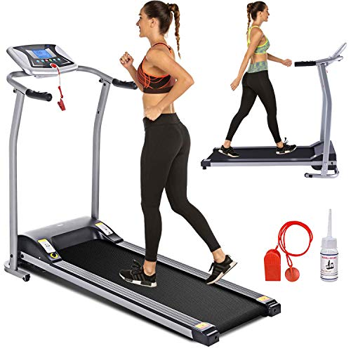 Electric Folding Treadmill for Home with LCD Monitor,Pulse Grip and Safe Key Fitness Motorized Running Jogging Walking Exercise Machine Space Saving for Home Gym Office Easy Assembly (Gray) 1