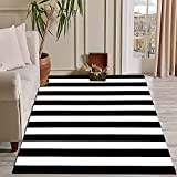 Black and White Striped Rug 4' x 6' Black and White Cotton Woven Washable Rug Retro Lattice Stripe Outdoor Rug Carpet for Farmhouse Living Room/Dining Room/Bedroom