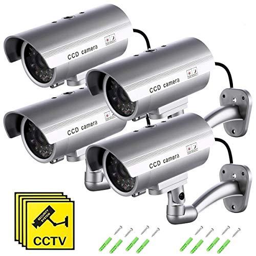 Telecamera Finta (4 Pezzi) Videocamere di Sorveglianza Dummy Camera con LED lampeggiante IR Simulazione Telecamera Realistico finte CCTV Impermeabile per interno, esterno di SeeKool (4Pezzi)