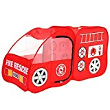 Fire Truck Tent Folding Portable Pop Up Bed Tent for Boys and Girls Playpen Tent Play Yard Red Indoors & Outdoors