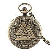 SWAOOS Bronze Vintage Triangle Valknut Norse Vikings Quartz Montre De Poche Collier Trois Montres Fob Imbriquées Femmes Hommes Cadeau