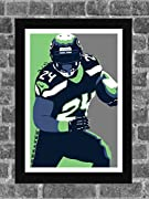 Seattle Seahawks Marshawn Lynch Portrait Sports Print Art 11x17 (inches) Poster is ready for framing and printed on high-quality photo paper. All prints are carefully packed for shipping with soft tissue wrapping and durable tubing. Please note the b...