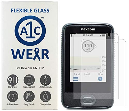 A1C WEAR - 9H Flexible Glass Screen Protector for Dexcom G6 Receiver PDM - Won't Crack or Chip - Anti-Scratch Anti-Fingerprint - 2 Pack