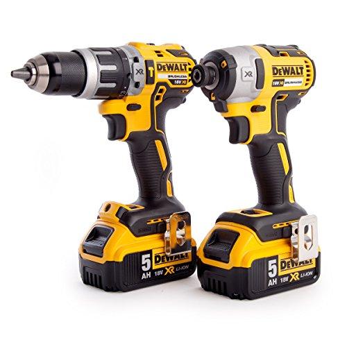 DEWALT DCK266P2T-GB XR Combi Drill and Impact Driver Brushless Kit in TSTAK Box, 1 W, 18 V, Yellow/Black